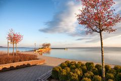 City port in Keszthely at Lake Balaton in winter in Hungary. City port in Keszthely at Lake Balaton in winter Stock Photography