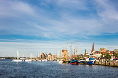 City port in Rostock (Germany) with sailing ships Stock Images