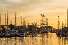 City port in Rostock (Germany) with sailing ships Royalty Free Stock Images