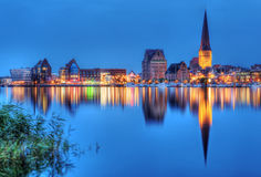 City port of Rostock by night Royalty Free Stock Photo