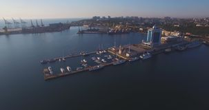 City port on sunrise. Urban aerial view stock video footage