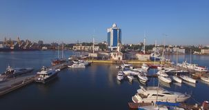 City port on sunrise. Urban aerial view stock footage