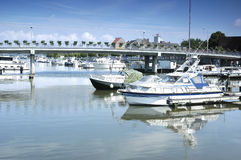 City port with yachts. In Hasselt, Belgium Royalty Free Stock Image