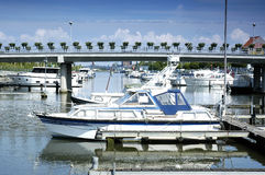 City port with yachts. In Hasselt, Belgium Royalty Free Stock Photo