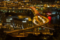 City of Portland Light Trails on Marquam Freeway Royalty Free Stock Images