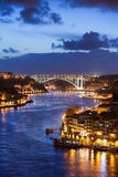 City of Porto by Douro River at Night in Portugal Stock Photo
