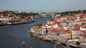 The Douro river in Porto, Portugal. City of Porto at the Douro river in Portugal stock video