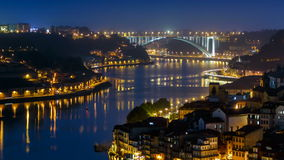 City of Porto and Gaia at night by the Douro river stock video