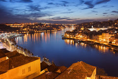 City of Porto at Night in Portugal stock images