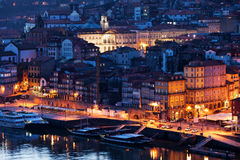 City of Porto Old Town by Night Royalty Free Stock Images