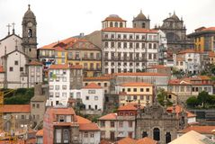 The city of Porto in Portugal. Some buildings and a church located in the heights of the picturesque Portuguese town also famous for its wine Royalty Free Stock Photo