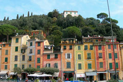 The city of Portofino , Italy. The town and mountain side villas of Portofino in Italy royalty free stock photo