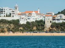 The city in Portugal. A photo of some city visible from a boat near the Algarve coast in Portugal, 2016 Royalty Free Stock Photos