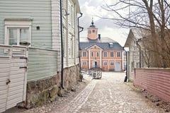 City of Porvoo. Town hall. Ancient Finnish city. Municipal landscape Stock Image