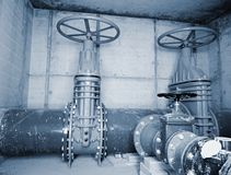 City potable water pipeline in concrete shafts with 500mm Gate valve Stock Photo