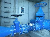 Free City Potable Water Pipeline In Concrete Shafts With 500mm Gate Valve Stock Photo - 91250230