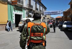 The city Potosi. Police on a city street. Royalty Free Stock Photos