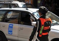 The city Potosi. Police on a city street. Stock Photos