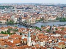 City of Prague with Charles bridge Stock Photos