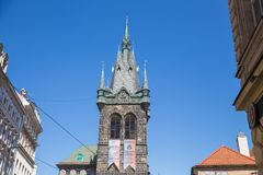 City Prague, Czech Republic. Old Prague city center. Street and old architecture. April 24. 2019 royalty free stock photo
