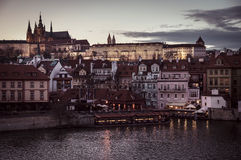 City Prague in Czech Republic. Old town in evening dusk. Royalty Free Stock Images