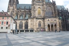City Prague, Czech Republic. People are visiting the old Prague castle and cathedral. Travel photo 2019. 24. April stock images