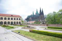 City Prague, Czech Republic. People are visiting the old Prague castle. Travel photo 2019. 24. April royalty free stock images