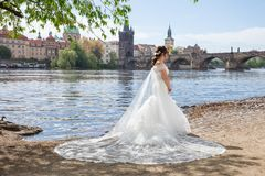 City Prague, Czech Republic. Photographers and weddings models, photo session process near the charles bridge. 2019 stock images