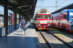 Free City Prague, Czech Republic. The City`s Old Train Station, People Go To The Platform. Travel Photo 2019. 26. April Stock Photography - 146436432