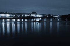 City Prague National theatre with river in night stock image