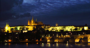 The city of Prague night scene Royalty Free Stock Image