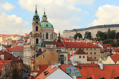 City of Prague. Westward view of Lesser Town (Malá Strana) and the Church of St. Nicholas from the Lesser Town Bridge Tower, Charles Bridge Royalty Free Stock Photo