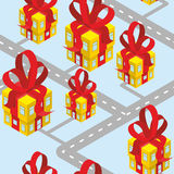 City presents seamless pattern. Building of  gift box with red b Stock Photography