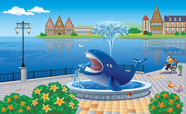 City promenade with a fountain and with a girl who sits on the b. Vector illustration of a city promenade with a fountain in the form of a whale and a girl who Royalty Free Stock Photos
