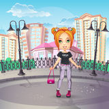 City promenade with a teen girl in jeans. Image of the city promenade with a teen girl in jeans Stock Photos