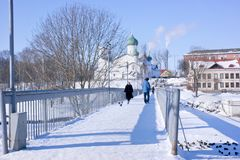 The city of Pskov, Pskova river. Church of the Epiphany with Zap. PSKOV, RUSSIA - February 21.2018: Church of the Epiphany with Zapskovye on the banks of the Stock Photography