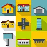 City public buildings icons set, flat style. City public buildings icons set. Flat illustration of 9 city public buildings vector icons for web Royalty Free Stock Images