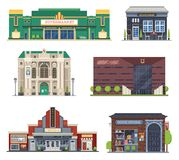 City Public Buildings Set. Cartoon city public buildings collection for culture and entertainment. Supermarket, cafe restaurant, theater, music hall, cinema and Stock Photos