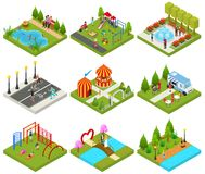 City Public Park or Square Objects Set Icons 3d Isometric View. Vector. City Public Park or Square Objects Set Icons 3d Isometric View with Food Truck, Carousel stock illustration