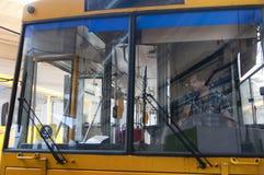 City public transport  bus. Driver driving in a public transport city bus Stock Images