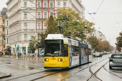 Berlin, October 2, 2017: City public transport in Germany. Beautiful black and yellow train stopped at stop on the Stock Photo
