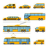 City public transport icons flat set. Urban Royalty Free Stock Photos