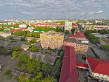 City quarters from helicopter. Tyumen. Russia Royalty Free Stock Image