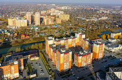 City quarters of Tyumen. Russia. Tyumen, Russia - October 11, 2017: Aerial view of city quarters on Scherbakova street stock photo
