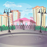 City Quay with lanterns. Image of City Quay with lanterns Royalty Free Stock Image