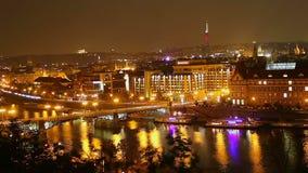 City quay night time lapse bridges ships, buildings car lights stock footage