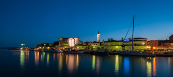 City of Rab during blue hour Royalty Free Stock Photography