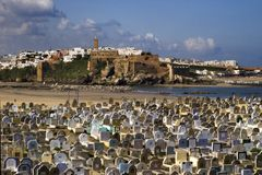 City of Rabat, Morocco. View of Moroccan city of Rabat with arabic graveyard and beach in the foreground Stock Images