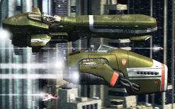 City Race. An air race in the futuristic city canyons in 3d Stock Photos