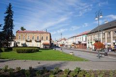 City of Radom in Poland. Park and buildings along Zeromskiego Street, cityscape Stock Photo